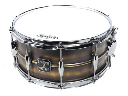"""GRETSCH DRUMS 14"""" x 6.5""""; Snare Drum; 1.0mm Brushed Brass Shell; 10-Lug"""