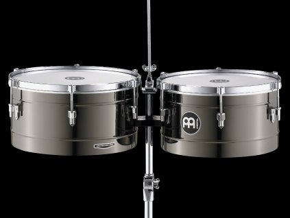 """MEINL 14+15"""" TIMBALES SET BLACK NICKEL, WITH STAND"""