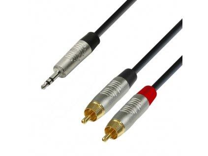 Adam Hall Cables K4 YWCC 0090 - Audiokabel REAN 3,5 mm Klinke stereo auf 2 x Cin