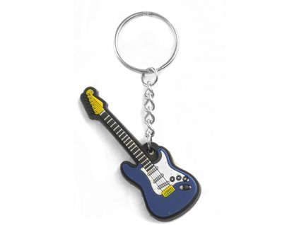 Musician Designer Music Key Chain Electric Guitar Blue