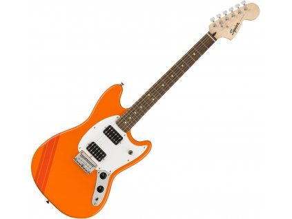 Squier FSR Bullet Competition Mustang, Competition Orange with Fiesta Red Stripes 1