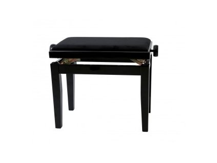 GEWA Piano bench GEWA Piano Deluxe Black high gloss Black cover