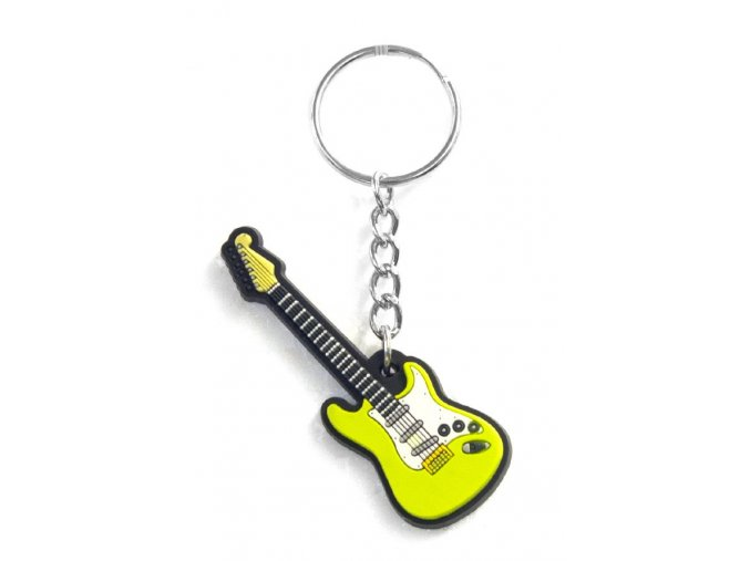 Musician Designer Music Key Chain Electric Guitar Green