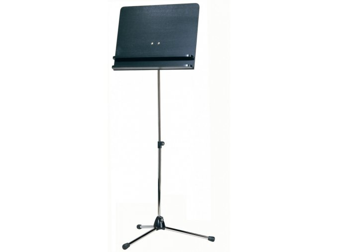K&M 118/3 Orchestra music stand chrome stand with black wooden desk