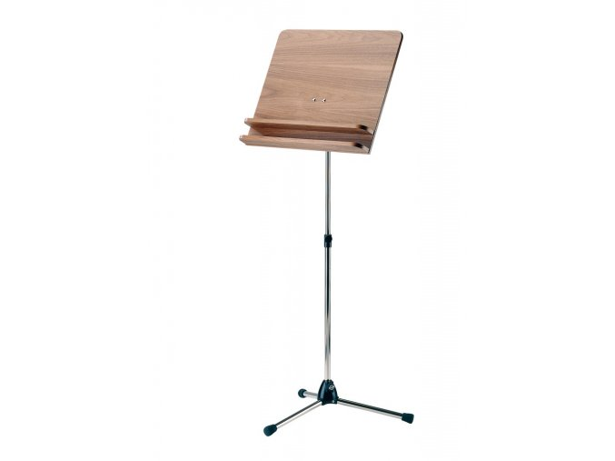 K&M 118/3 Orchestra music stand chrome stand with walnut wooden desk