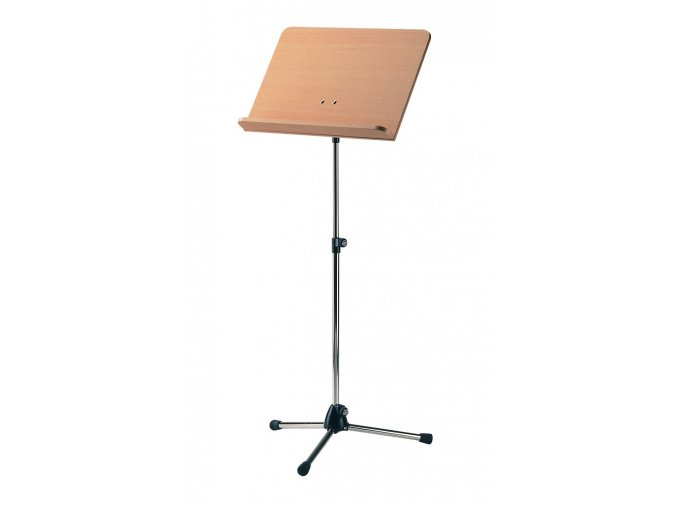 K&M 118/1 Orchestra music stand chrome stand, beech wooden desk