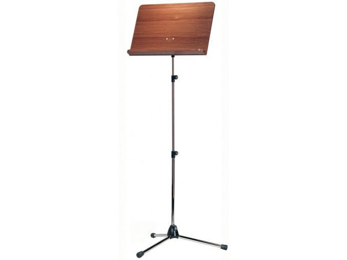 K&M 118/4 Orchestra music stand chrome stand, walnut wooden desk