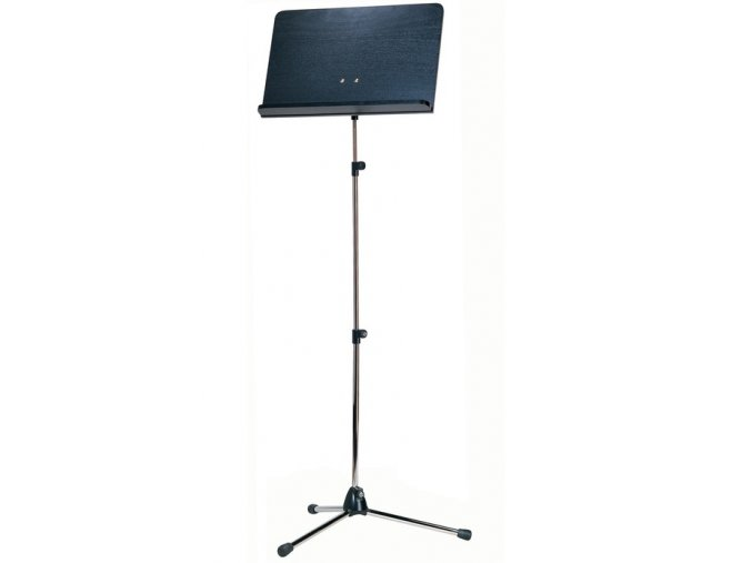 K&M 118/1 Orchestra music stand chrome stand, black wooden desk