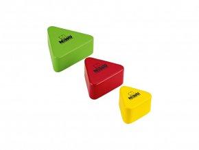 NINO WOOD SHAKER ASSORTMENT RED/YELLOW/GREEN, TRIANGULAR