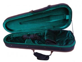 Short, extra-light violin case made of high-densityfoam, green interior