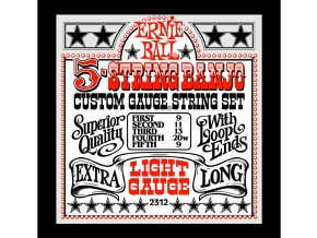 Ernie Ball Light 5-String Loop End Stainless Steel Banjo Guitar Strings