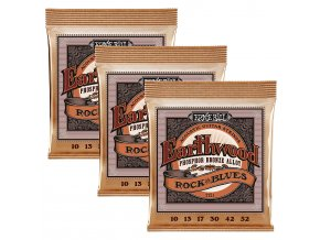 Ernie Ball Earthwood Rock and Blues w/Plain G Phosphor Bronze Acoustic Guitar 3 pack