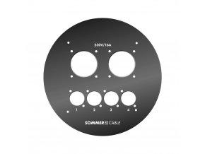 SOMMER Frontblech für 4 XLR + 2 Netz