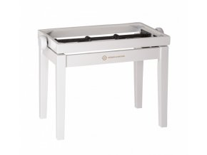 K&M 13711 Piano bench - wooden-frame white glossy finish