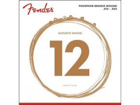 Fender Phosphor Bronze Acoustic Guitar Strings, Ball End, 60L .012-.053 Gauges,