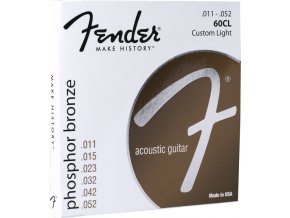 Fender Phosphor Bronze Acoustic Guitar Strings, Ball End, 60CL .011-.052 Gauges,