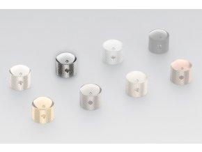 Schaller Dome knob, Diamond-Knurled, Chrome, mosadz