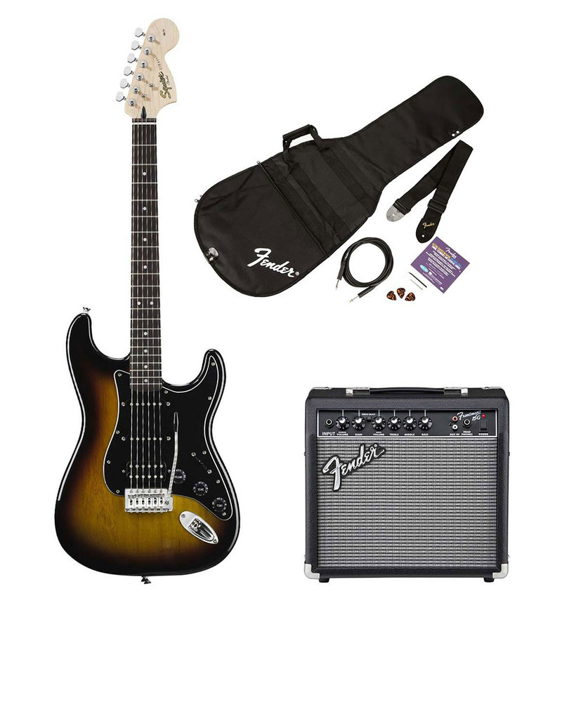 Squier Affinity Series Stratocaster HSS Pack, Brown Sunburst, 230V EUR