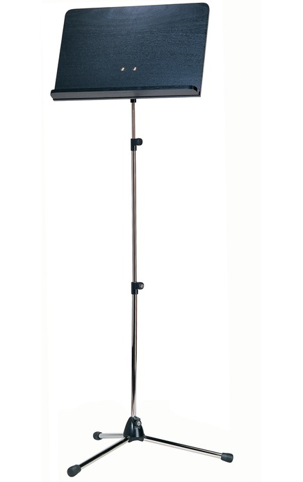 K&M 118/4 Orchestra music stand chrome stand, black wooden desk