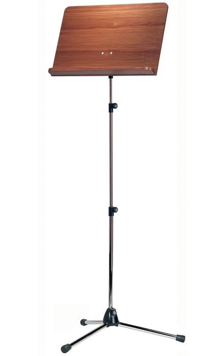 K&M 118/4 Orchestra music stand chrome stand, walnut wooden desk