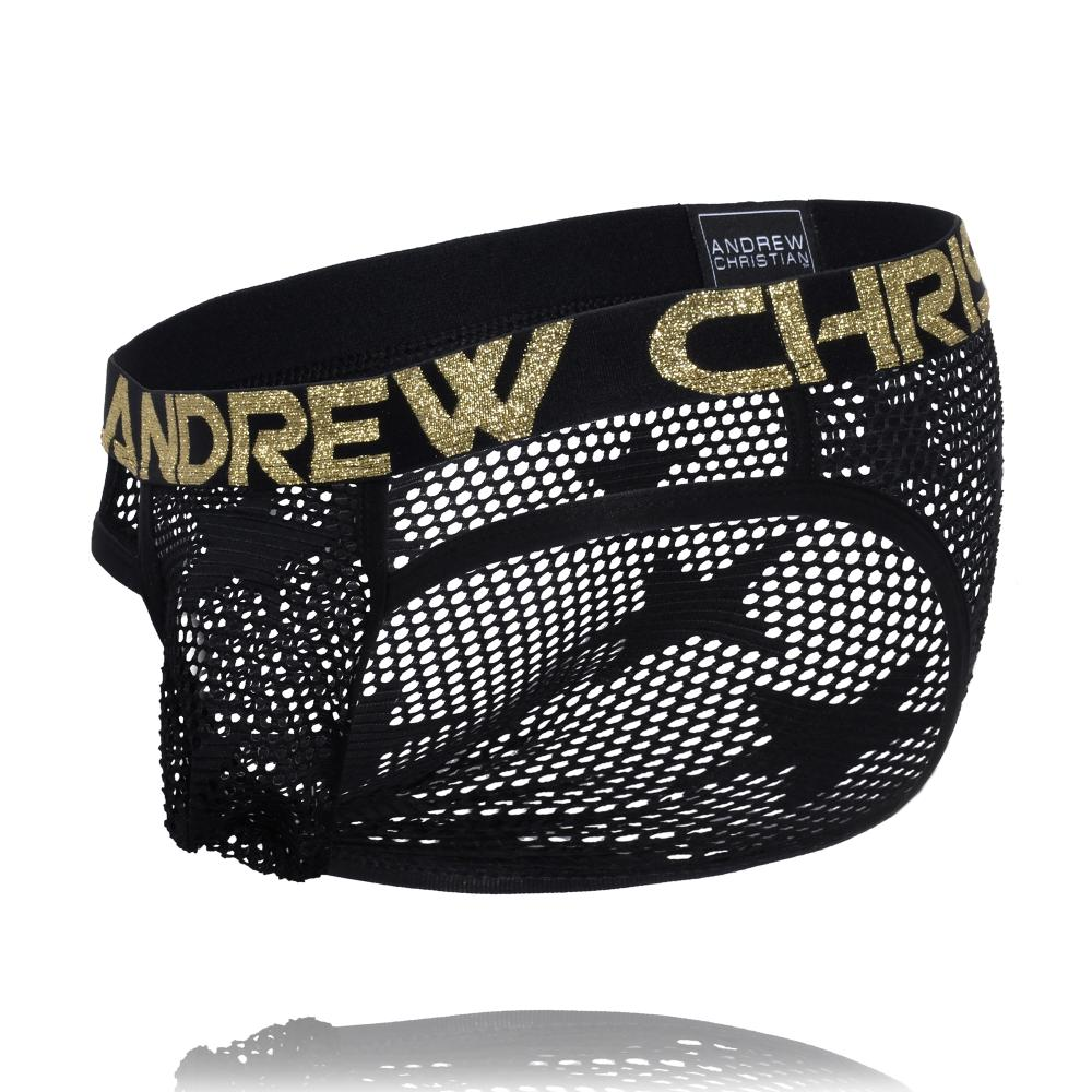 Star Mesh Brief Slipy ANDREW CHRISTIAN Black1