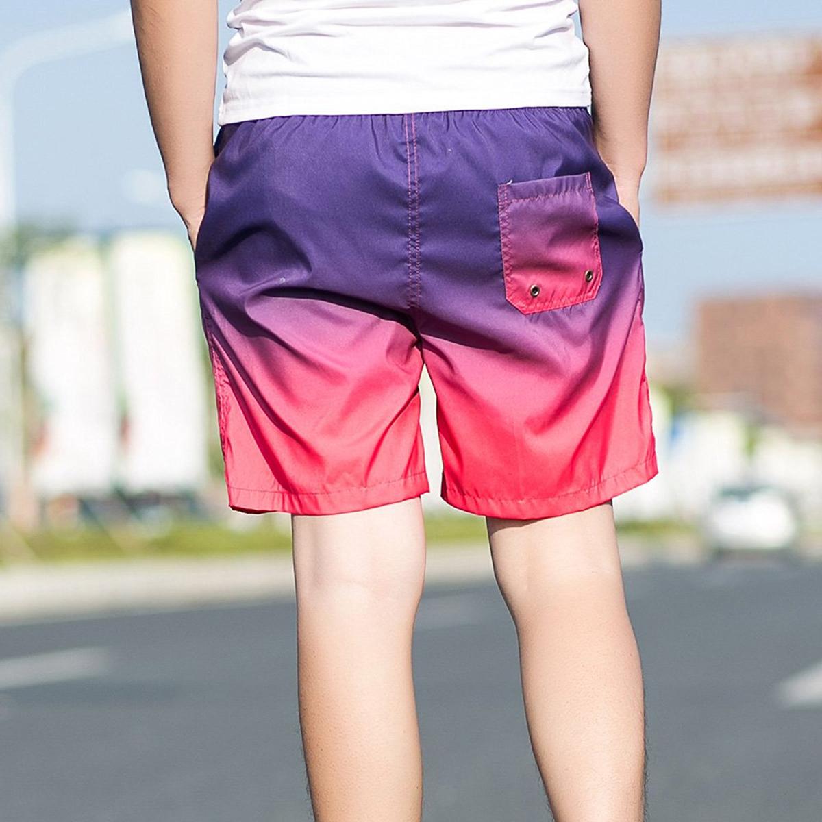 Výrazné-dvoubarevné-šortkové-plavky-Gradient---Nachová-11