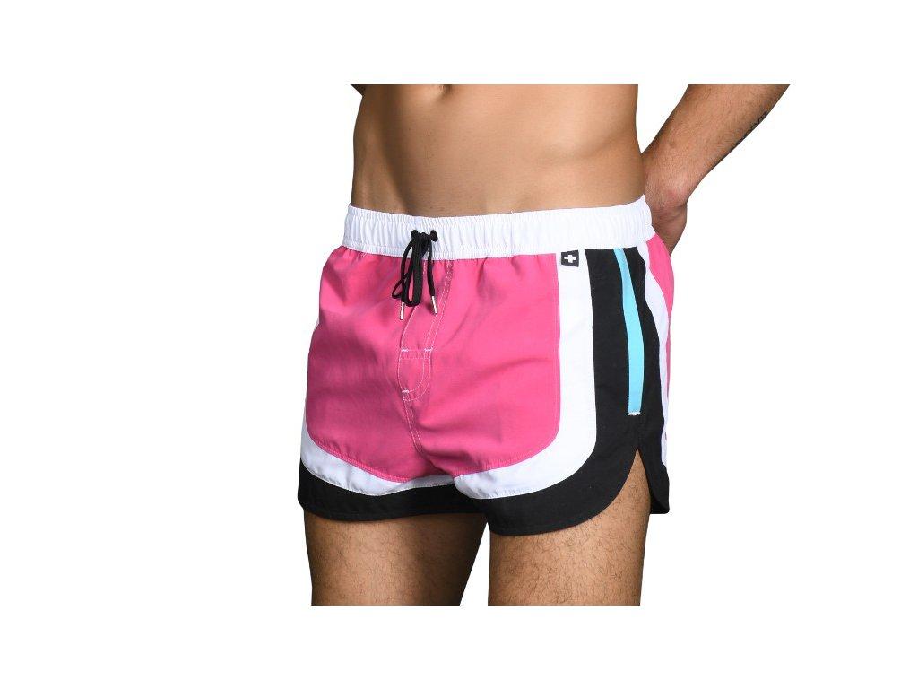 Andrew Christian šortkové plavky CHAMPION Swim Shorts (Barva Růžová, Pro obvod pasu Pro obvod pasu 89-99cm, Velikost XL)