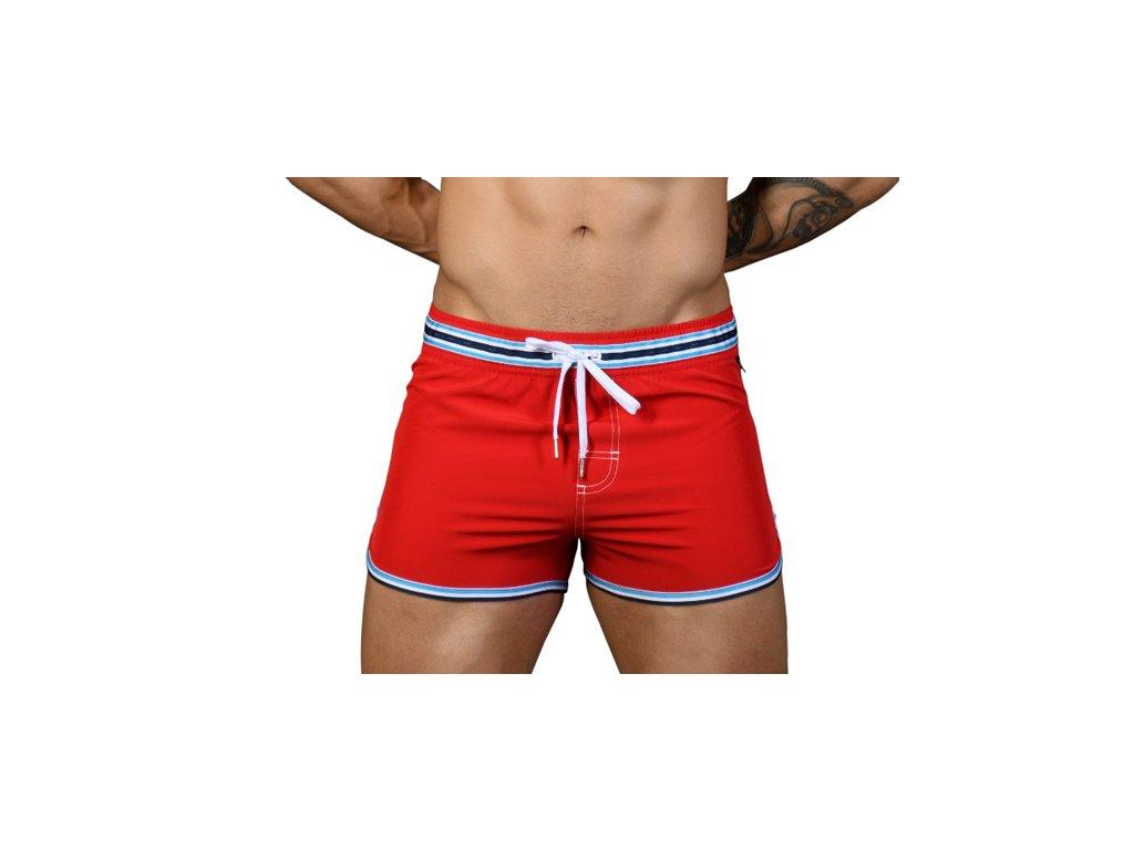 Andrew Christian šortkové plavky RIVIERA Swim Shorts Red (Barva Červená, Pro obvod pasu Pro obvod pasu 89-99cm, Velikost XL)