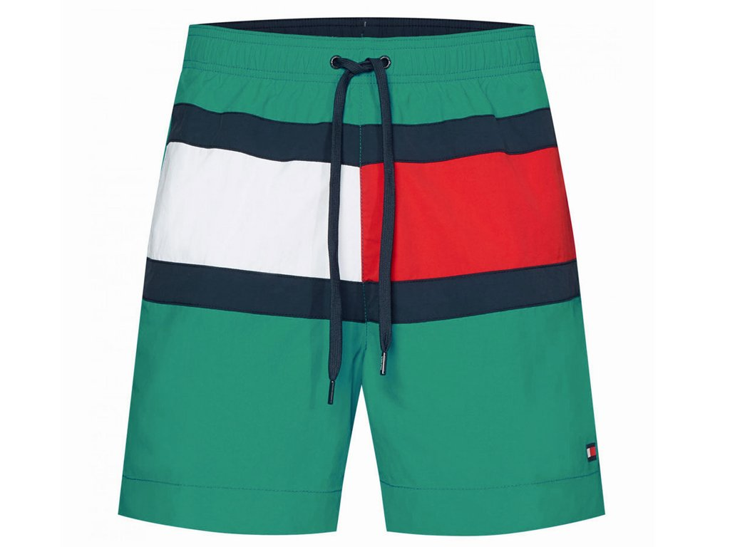Šortkové plavky Tommy Hilfiger Flag Panel UM0UM01070-LFD Zelená