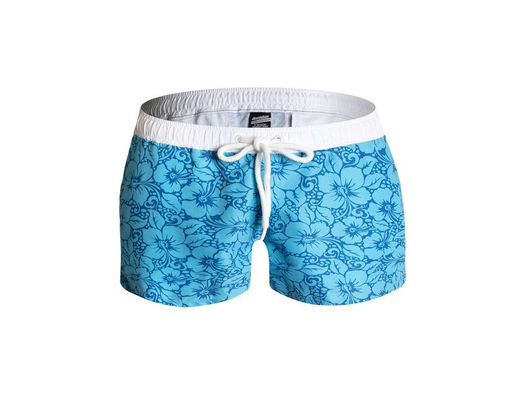 Šortkové Plavky AussieBum Aloha Hibiscus Cyan/Blue (Barva Modrá, Velikost XL)