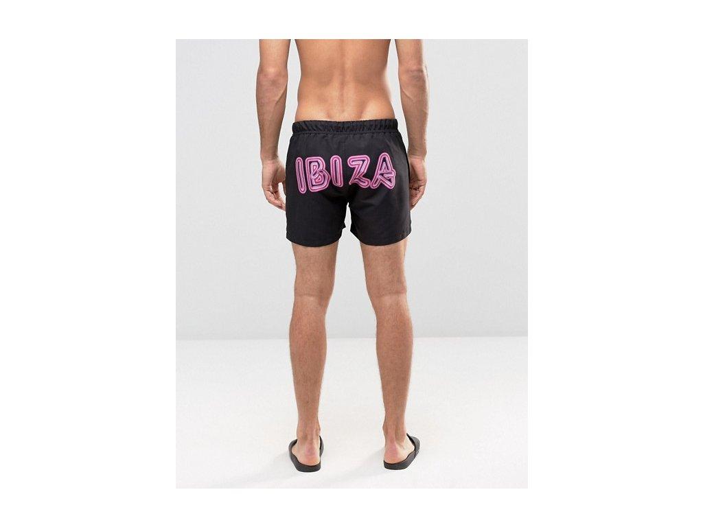 Černé šortkové plavky ASOS - Neon IBIZA (Velikost L, Barva Jako na obrázku, Velikost dle značky (86-91cm))