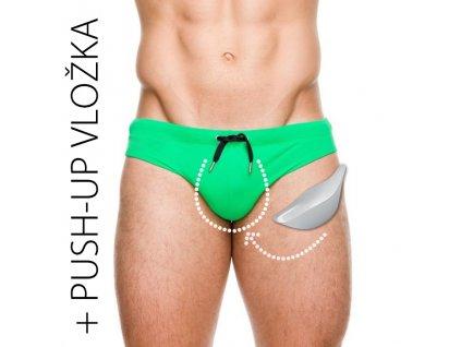 panske push up slipove plavky s vyjimatelnou vlozkou zelena 3