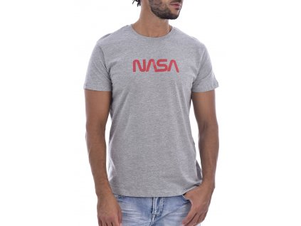 Originální NASA tričko ROUND NECK BIG WORM - Šedá