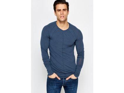 Slim Fit prošívané triko z jemné tkaniny a Raglan rukávy (Barva Modrá, Velikost L)