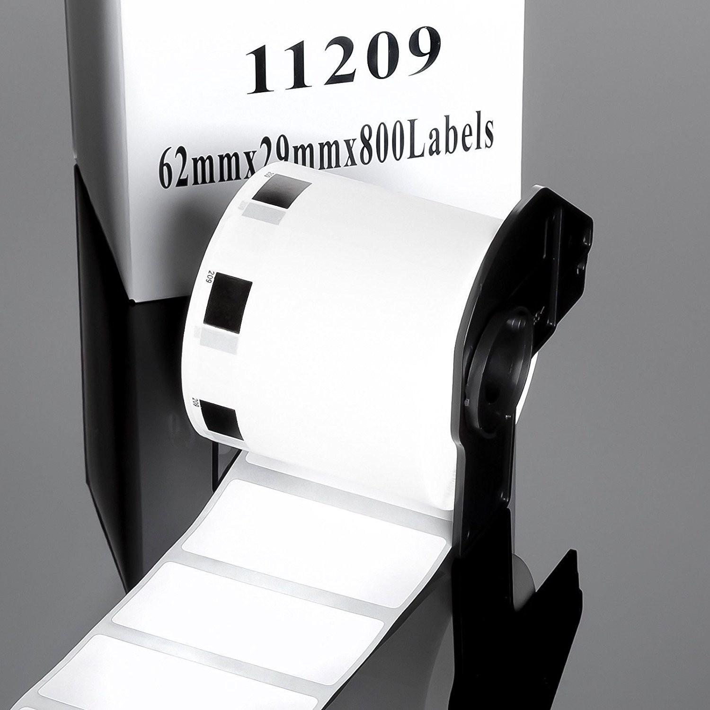 DK11209 kompatibilní papírové samolepící štítky / etikety pro BROTHER DK-11209 62mm x 29mm, Velikost prstenu: 1ks role (800 štítků) + VZOREK ZDARMA 10KS ADRESNÍCH ŠTÍTKŮ 102MM X 152MM
