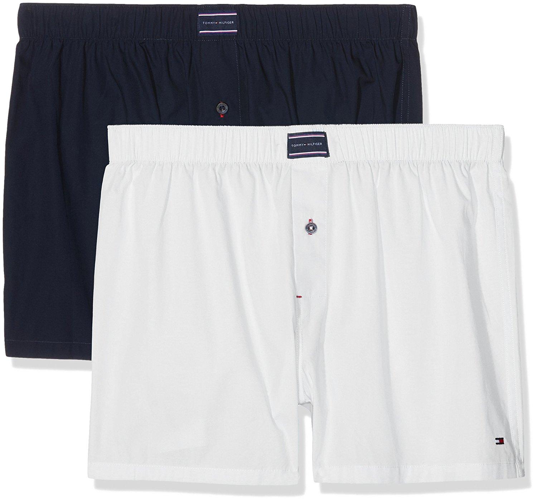 Volné boxerky Tommy Hilfiger 2 balení Bílá-Navy Velikost: M, Velikost dle značky: Pro obvod pasu (86-90cm)