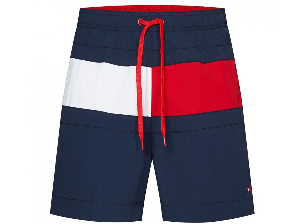 Šortkové plavky Tommy Hilfiger Flag Panel UM0UM01070-CUN Modrá Barva: Modrá, Velikost: M, Pro obvod pasu: Pro obvod pasu (81-86cm)