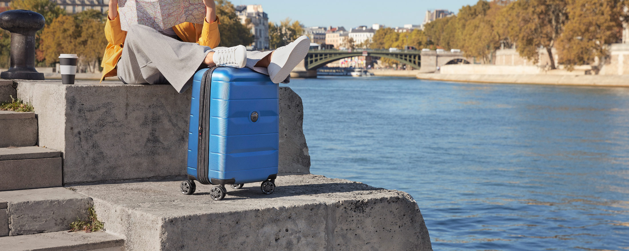 luggage and river