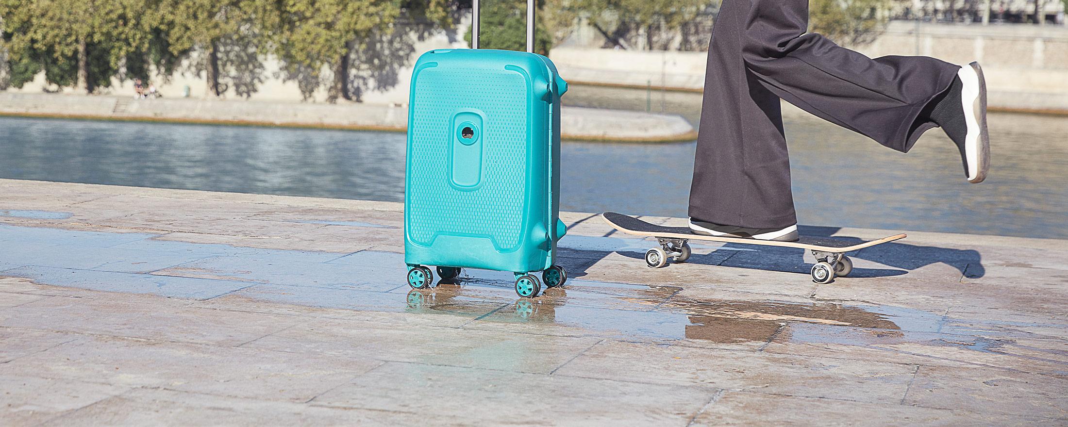 luggage and skateboard