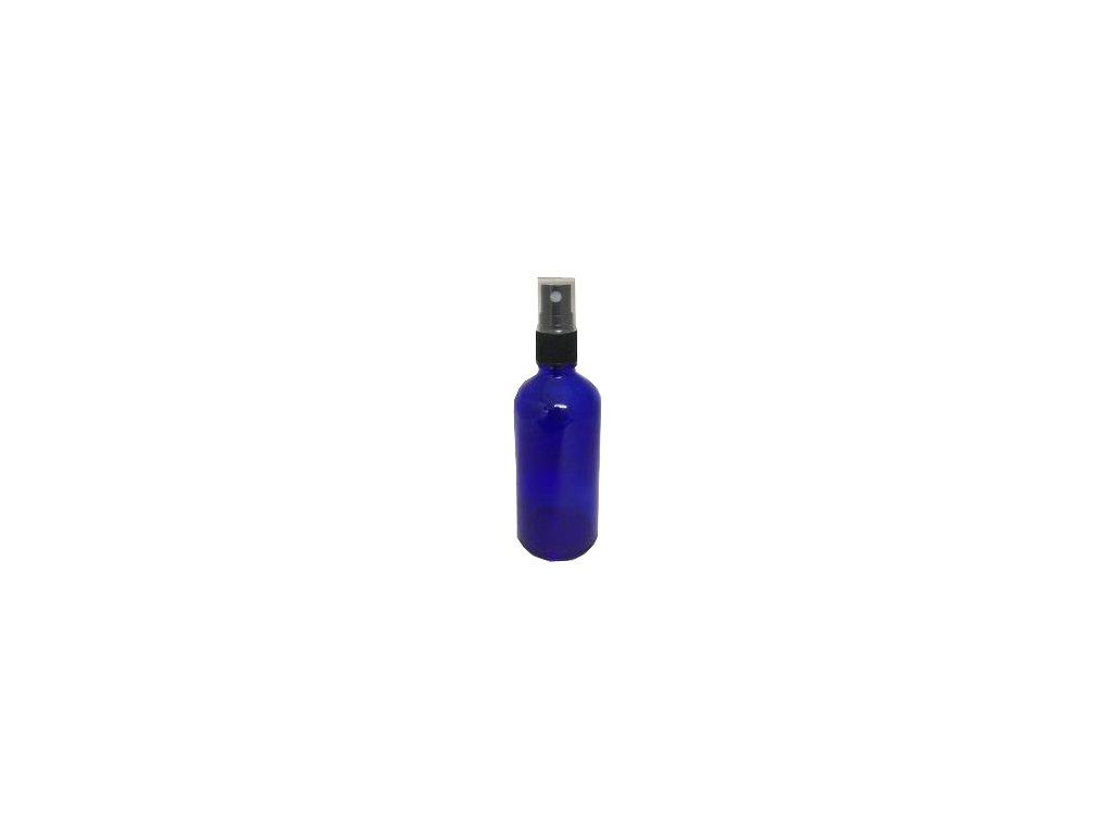 Skleněná lahvička, MODRÁ 100ml + uzávěr rozprašovač