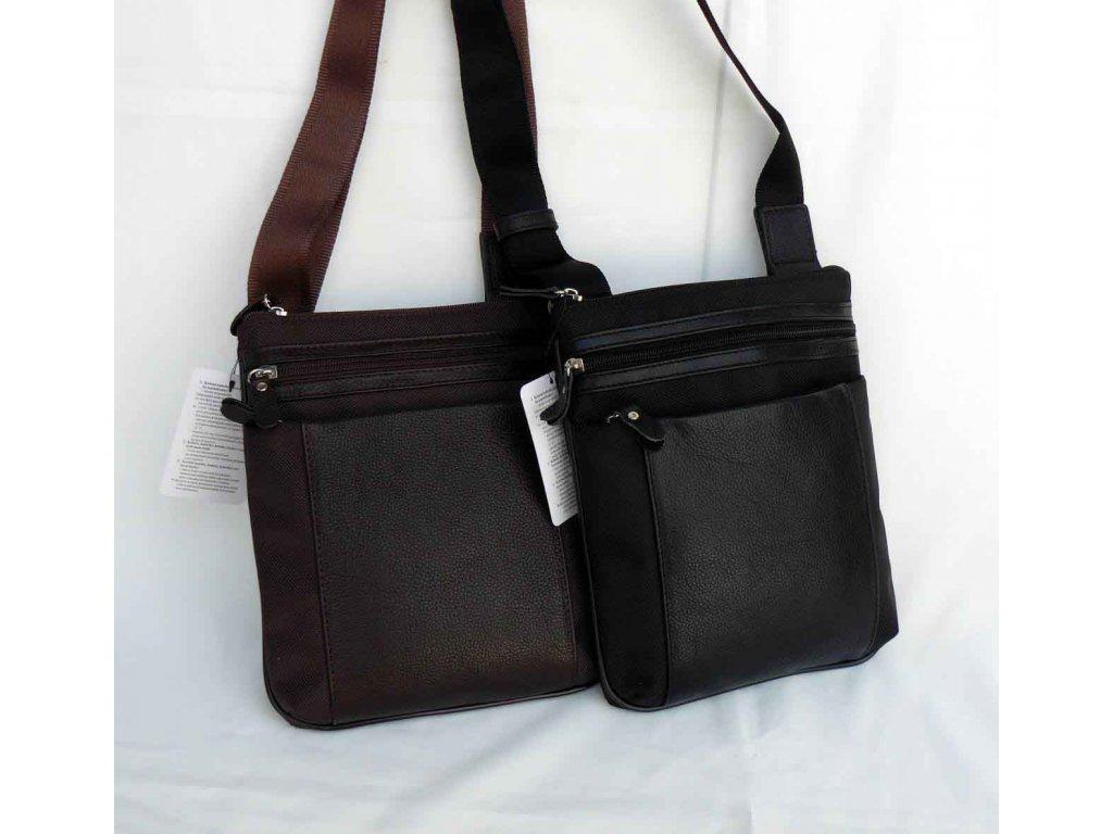 Praktická taška crossbody textil + kůže, černá