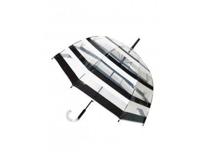 parapluie long transparent rayure noirblanc