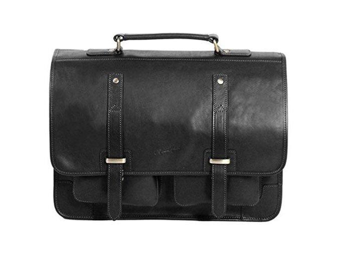 Dvoukomorová kožená taška na PC Gerard Henon 5326 černá