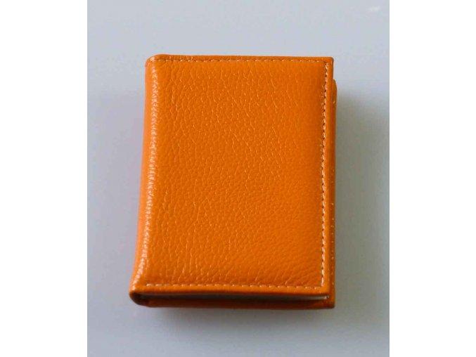Vizitkář - dokladovka na karty kožená - oranžová