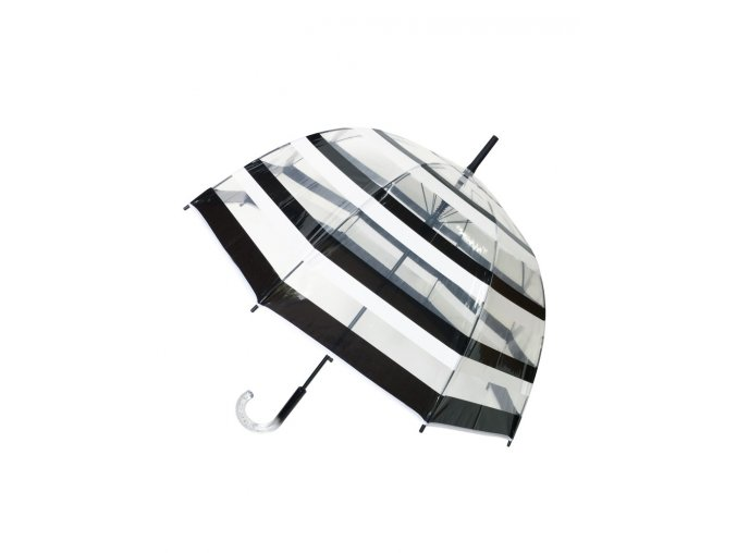 parapluie long transparent rayure noirblanc
