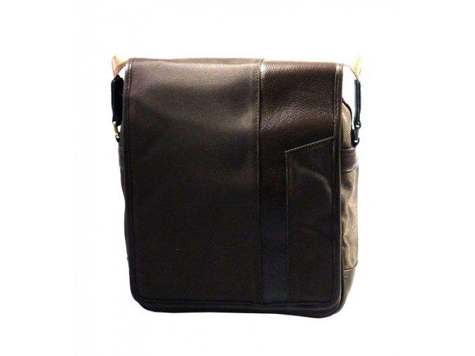 Taška crossbody s polstrováním na tablet textil + kůže