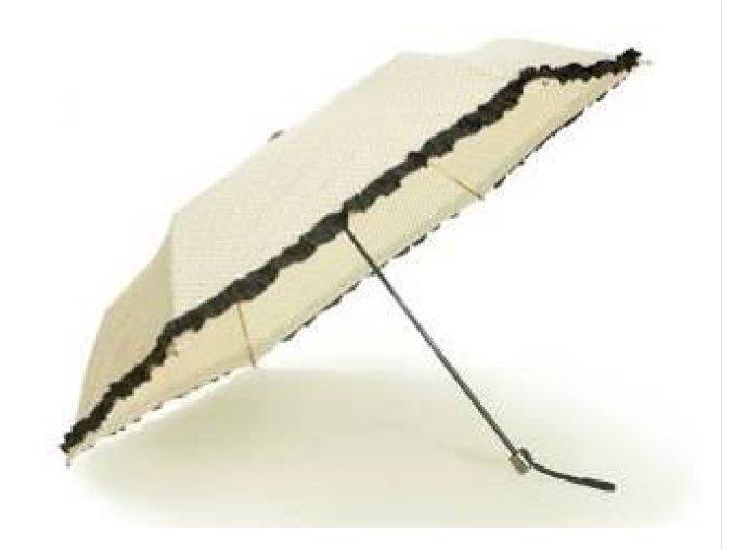 Deštník skládací s volánkem smetanový
