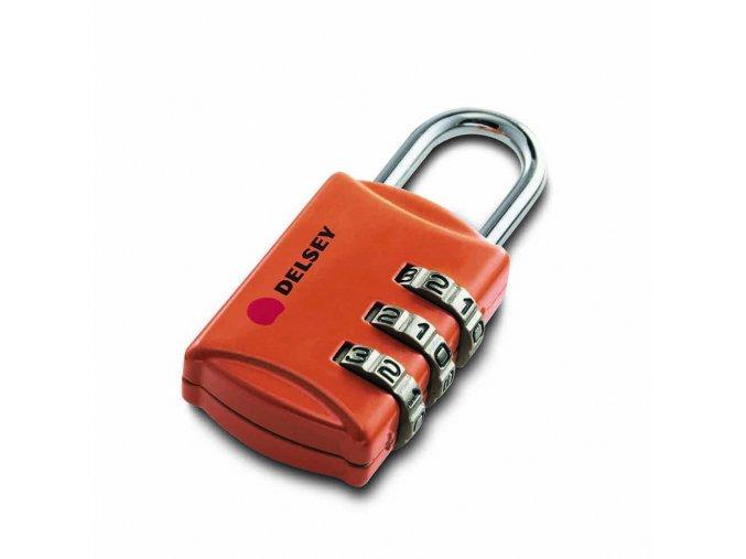 Zámek na kufr kombinační celokovový oranžový