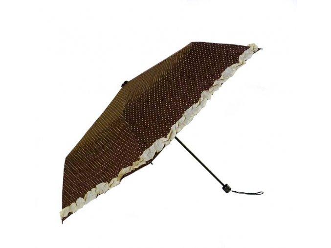 Deštník skládací s volánkem hnědý