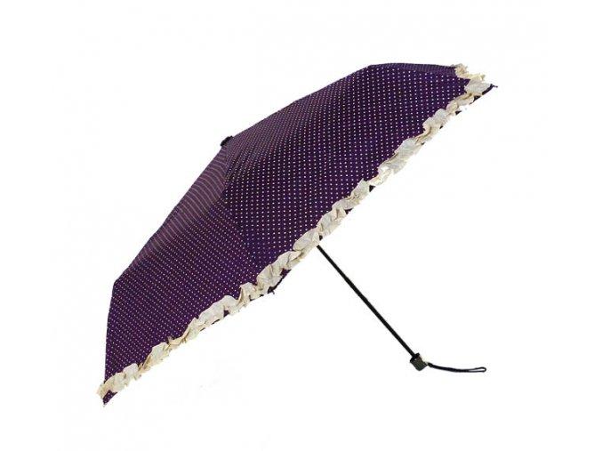 Deštník skládací s volánkem fialový